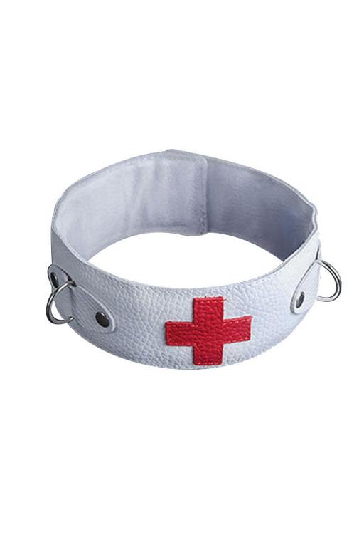 Ошейник белый с красным крестом