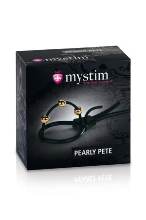 Кольцо на головку с электростимуляцией Pearly Pete с шариками черное