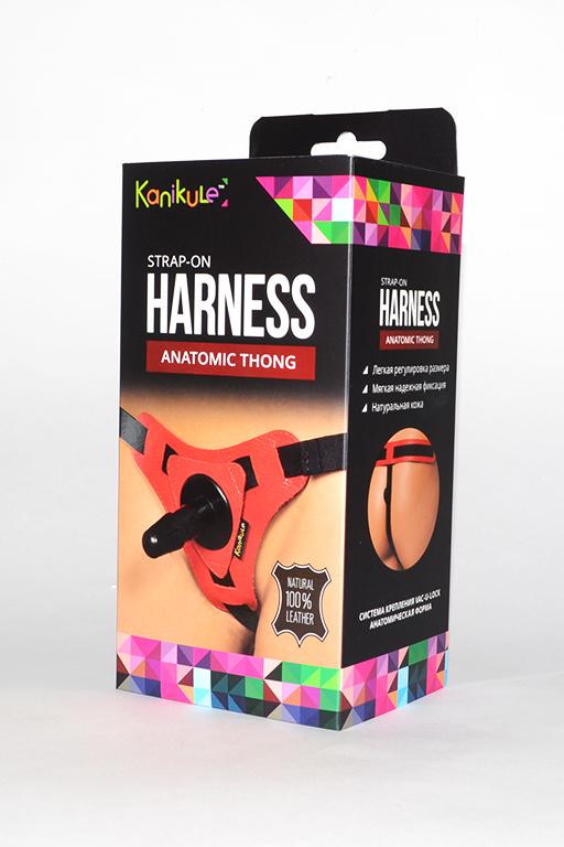 Трусики Kanikule Leather Strap-on Harness vac-u-lock Anatomic Thong красный