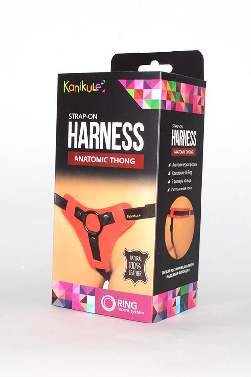 Трусики Kanikule Leather Strap-on Harness  Anatomic Thong красный