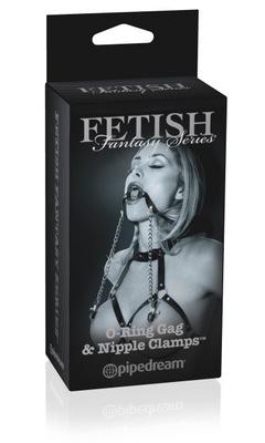 Кольцо-расширитель для рта+цепочки с клипсами д/сосков груди Fetish Fantasy LTD Edition