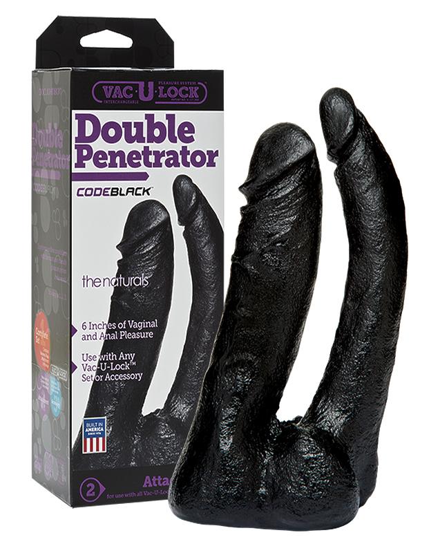 Насадка фаллоимитатор черная двойная Double Penetrator Vac-U-Lock CodeBlack